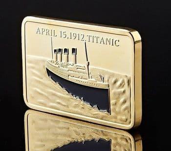 24 Karat Gold Plated RMS Titanic Commemorative Bar