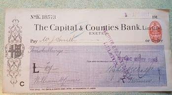 Rare RMS Titanic Relief Fund Cheque