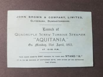 RMS Aquitania Launch Card