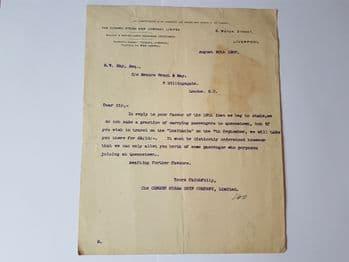 RMS Lusitania / Cunard letter