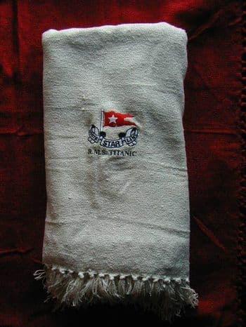 RMS TITANIC EMBROIDERED CREAM THROW