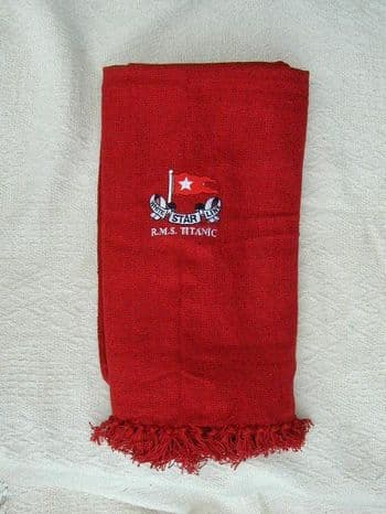 RMS TITANIC EMBROIDERED RED THROW