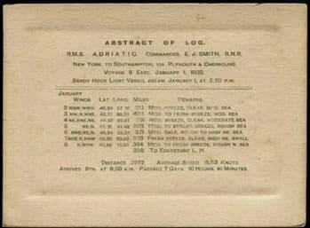 Titanic Captain E.J. Smith Abstract of Log 1908