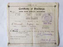 Titanic Victim Frederick Wormold 'Certificate of Discharge'