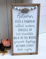 Autumn Sayings Natural wood with Beads Pumpkin Plaque Sign Decoration 32x17cm