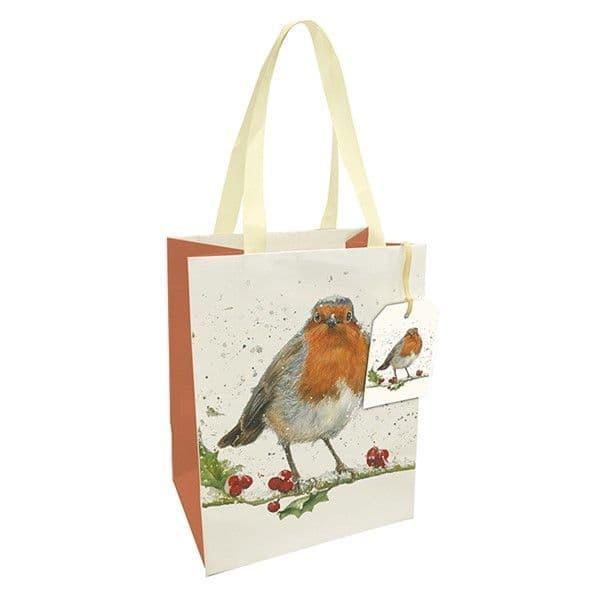 Bree Merryn Christmas Robin Gift Bag & Tag Medium Ribbon Handles 22.5x17.5cm