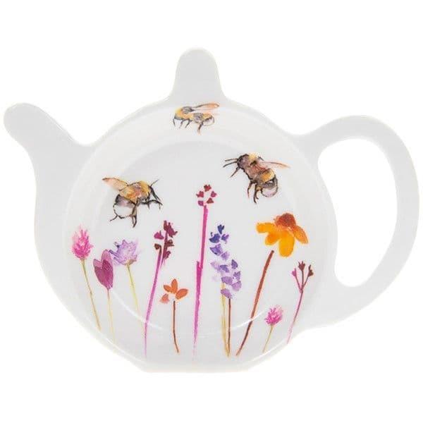 Busy Bee Teapot Shape Tea Bag Tidy Holder Kitchen Hygiene Melamine 13x10x2cm