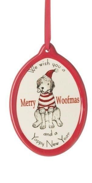 Christmas Ceramic Merry Woofmas & Yappy New Year Jumper Dog Hanging Decoration 8x8cm