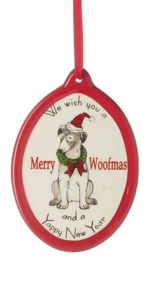 Christmas Ceramic Merry Woofmas & Yappy New Year Wreath Dog Hanging Decoration 8x8cm