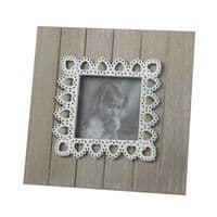Country Rustic Square Lace Heart Pattern Wooden Freestanding Photo Frame 17.5cm