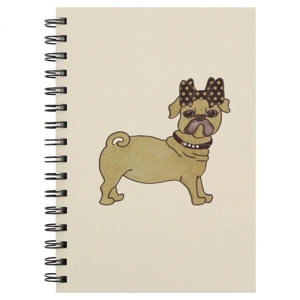 Diamanté Collar Pug Dog A5 Lined Spiral Hardback Notebook Stationery 15x21cm