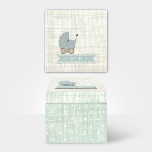 East of India Blue Baby Boy Wood Memory Keepsake Trinket Box 14x14x13.5cm
