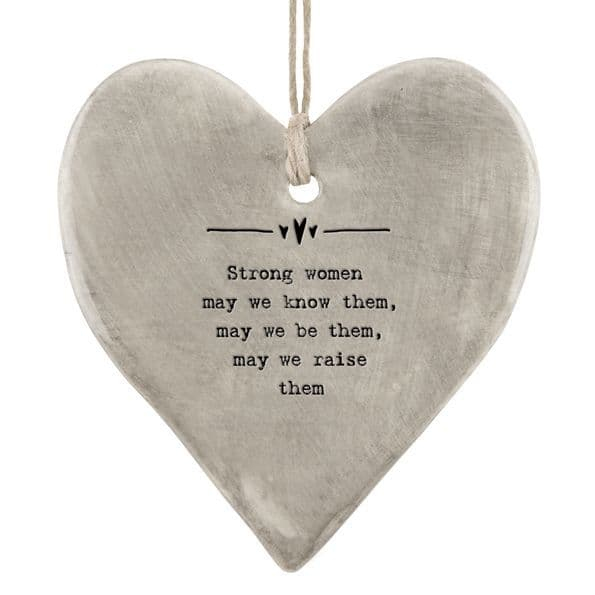 East of India Rustic Grey Strong Women Hanging Heart Decoration 9x8cm