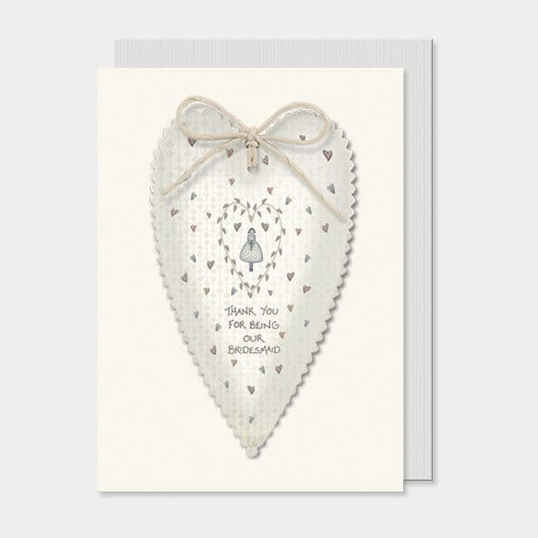 East of India White/Blue Thank for being Bridesmaid Greetings Card 16.5x12cm