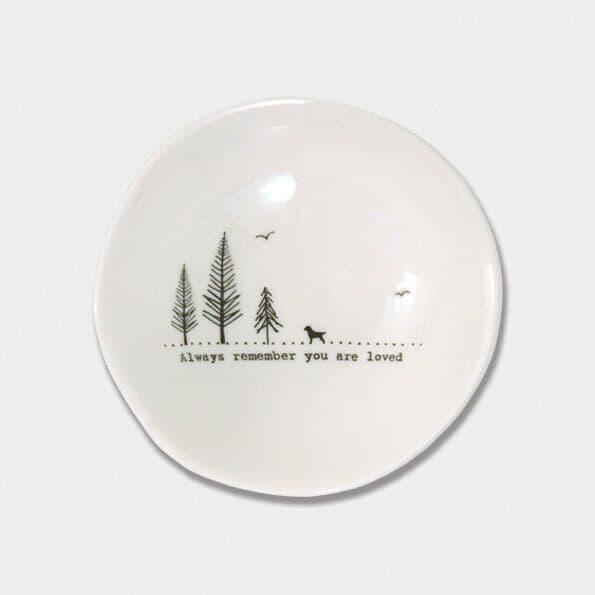 East of India White Ceramic Always Remember Trinket Jewellery Bowl Dish 10cm