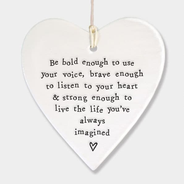 East of India White Ceramic Be Bold Enough to use your Voice Heart 9x9cm