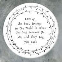 East of India White Ceramic Best Feelings giving Hugs Single Coaster 10cm