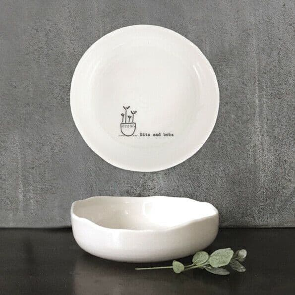 East of India White Ceramic Bits and Bobs Trinket Jewellery Bowl Dish 10cm