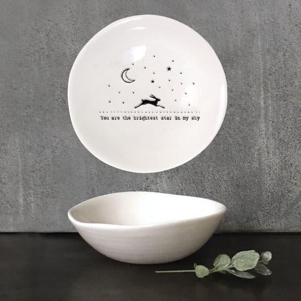 East of India White Ceramic Brightest Star Hare Trinket Jewellery Bowl Dish 10cm