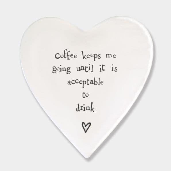East of India White Ceramic Coffee Keeps me Going Single Coaster felt 10cm