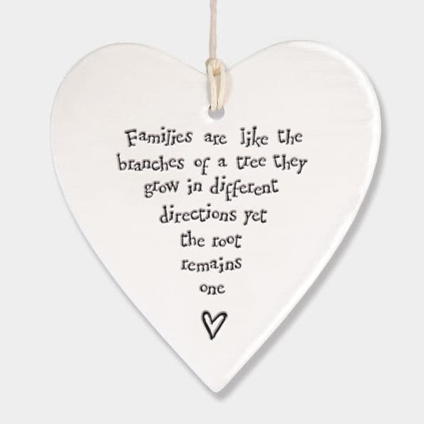 East of India White Ceramic Families are like Branches of a Tree Heart 9x9cm