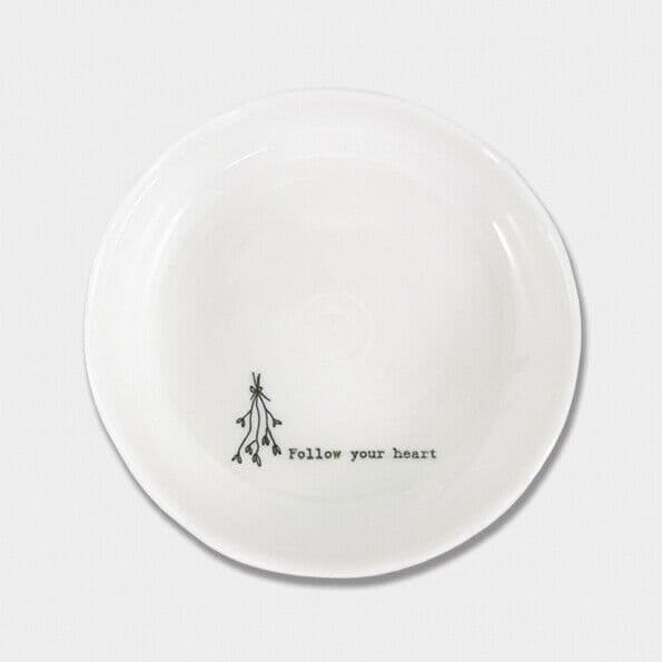 East of India White Ceramic Follow your Heart Trinket Jewellery Bowl Dish 10cm