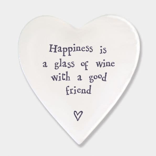 East of India White Ceramic Happiness Glass of Wine Single Coaster felt 10cm