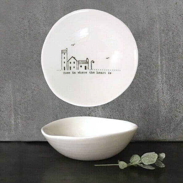 East of India White Ceramic Home is Where Trinket Jewellery Bowl Dish 10cm