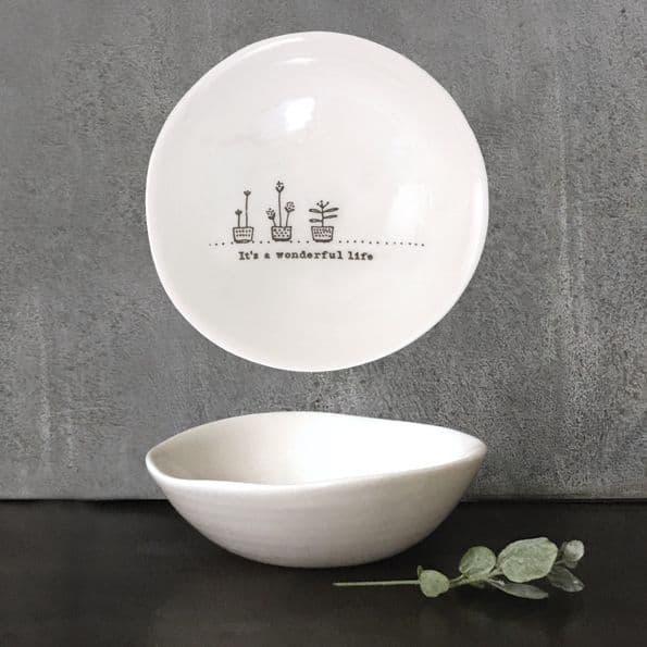 East of India White Ceramic It's Wonderful Life Trinket Jewellery Bowl Dish 10cm