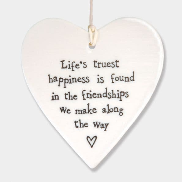 East of India White Ceramic Life's Truest Happiness is Found Friends Heart 9x9cm