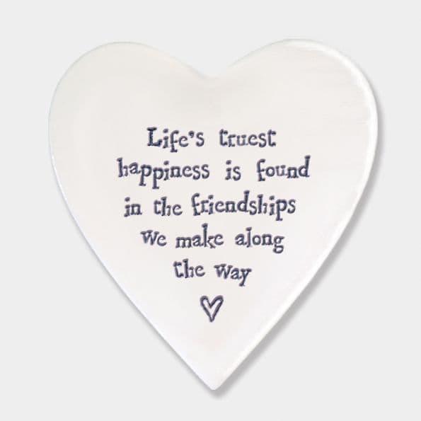 East of India White Ceramic Life's Truest Happiness Single Coaster felt back 10x11cm