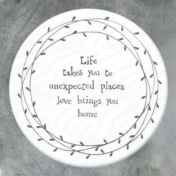 East of India White Ceramic Life takes you unexpected Places Single Coaster 10cm