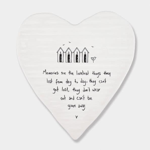 East of India White Ceramic Memories are the Loveliest Single Coaster felt 10cm