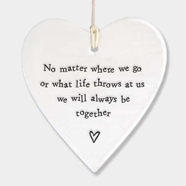 East of India White Ceramic No Matter where we go or What Life Throws Heart 9x9cm