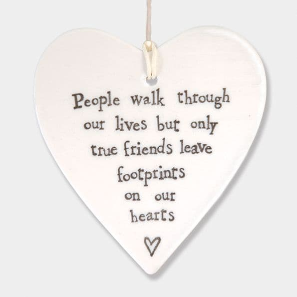 East of India White Ceramic People Walk Through our Lives Friends Heart 9x9cm