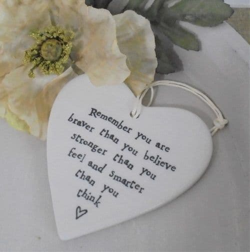 East of India White Ceramic Remember you are Braver Believe Heart Gift 9x9.5cm