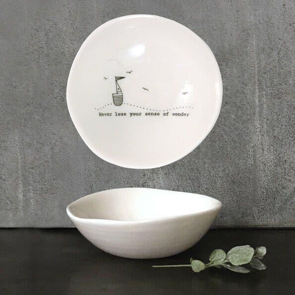 East of India White Ceramic Sense of Wonder Trinket Jewellery Bowl Dish 10cm