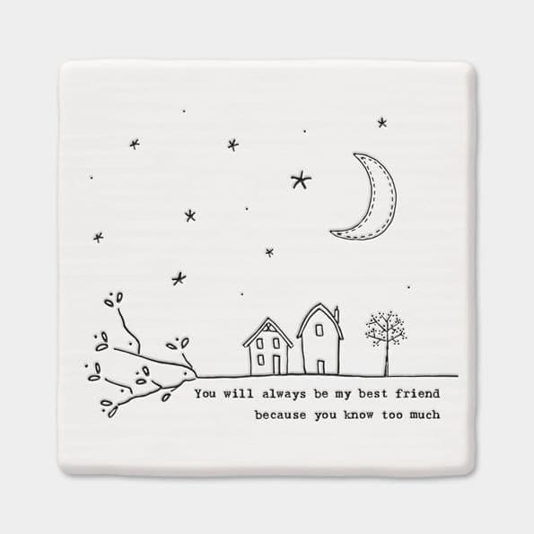 East of India White Ceramic Square Best Friend Always Coaster Felt Back 10cm