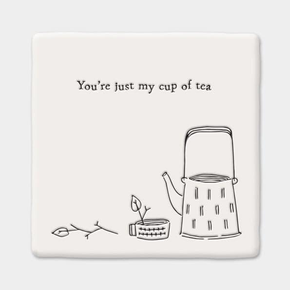 East of India White Ceramic Square Just my Cup of Tea Coaster Felt Back 10x10cm