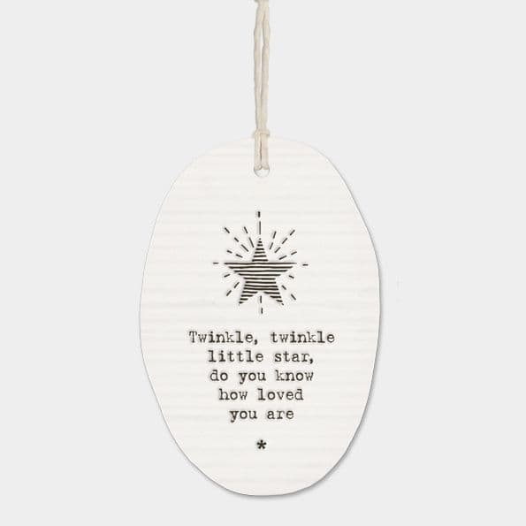 East of India White Ceramic Twinkle Twinkle Little Star Oval Pebble Decoration 5x8cm