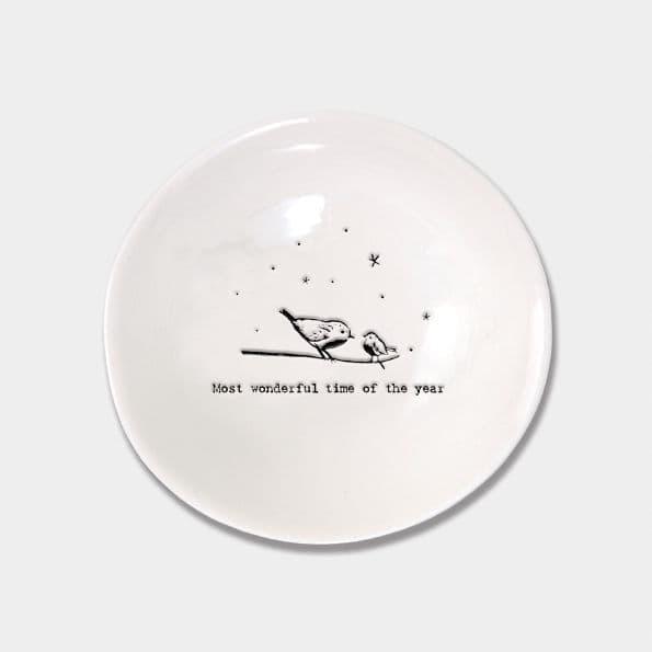 East of India White Ceramic Wonderful Time Year Trinket Jewellery Bowl Dish 10cm