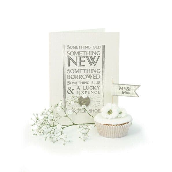 East of India White Lucky Sixpence Something Old/New Wedding Day Card 16.5x12cm