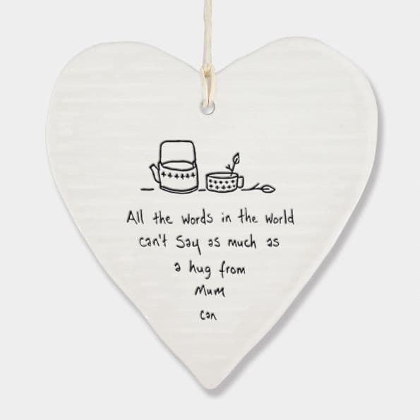 East of India White Porcelain A Hug from Mum heart Decoration 10x9cm