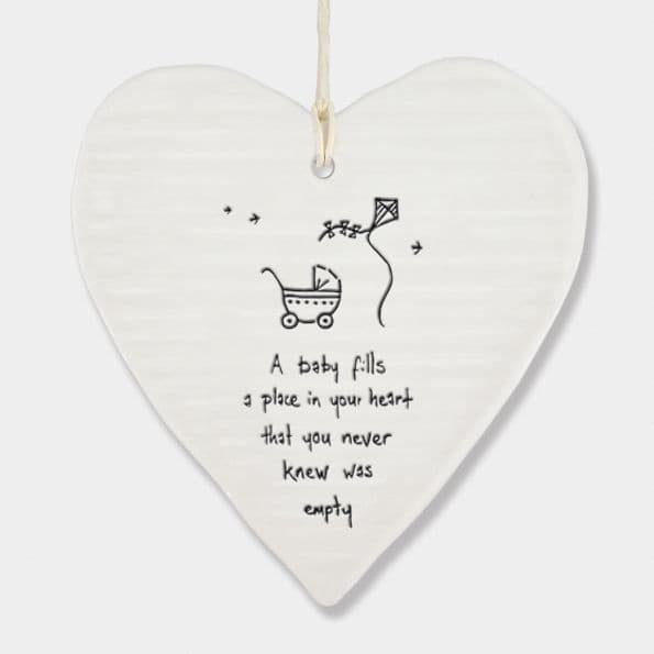 East of India White Porcelain Baby fills a place in your heart Decoration 10x9cm