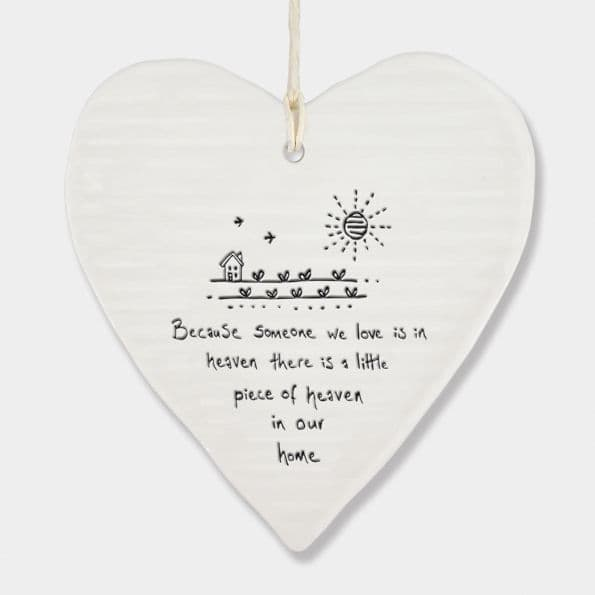 East of India White Porcelain Because Someone in Heaven heart Decoration 10x9cm
