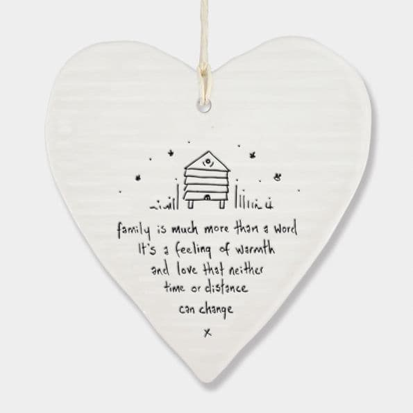 East of India White Porcelain Family is much more than a word Decoration 10x9cm