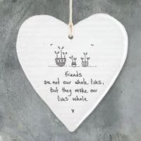 East of India White Porcelain Heart Friends are not our Whole Life Gift 10x9cm