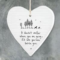 East of India White Porcelain Heart It Doesn't Matter Where you are Going 10x9cm