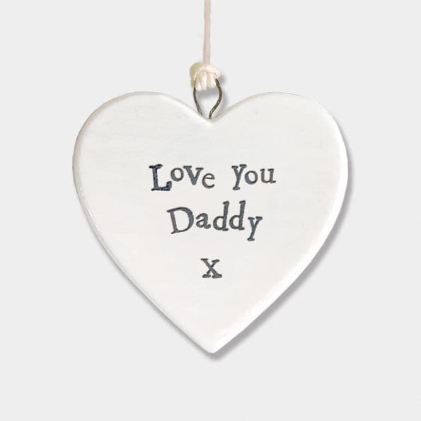 East of India White Porcelain Heart Love You Daddy X Gift Decoration 4.5x4.5cm