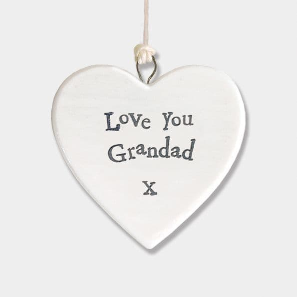 East of India White Porcelain Heart Love You Grandad X Gift Decoration 4.5x4.5cm